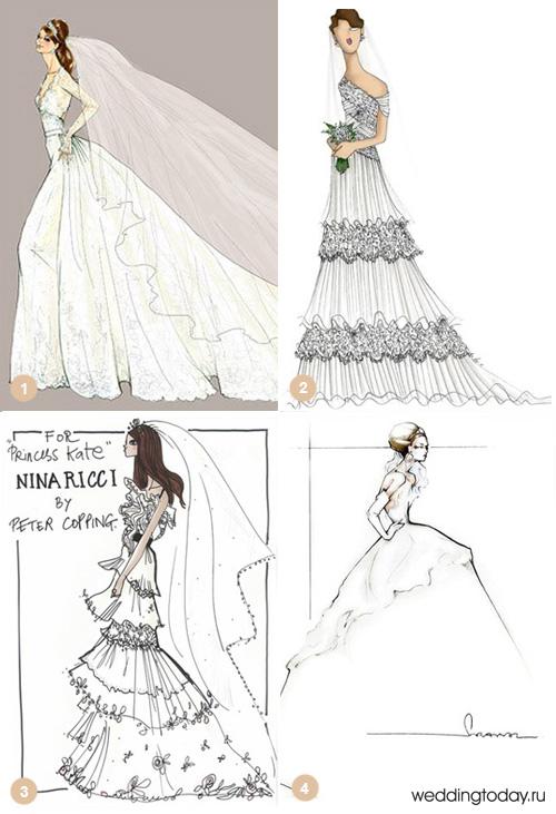 Эскиз садебного платья Деловые и трикотажные платья.