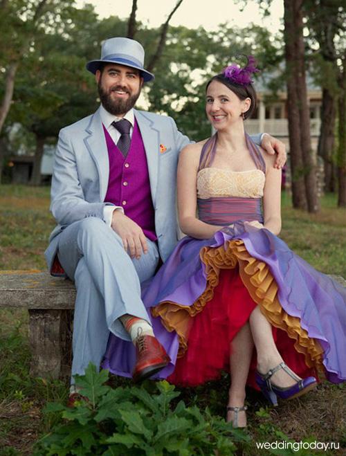 Необычные свадебные наряды жениха и невесты фото