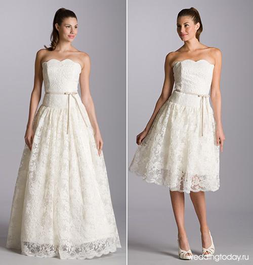 Платье-трансформер может быть украшено гипюром на спине или полностью пошито из него. Так же приобрести свадебное платье с отстегивающейся юбкой из гипюра