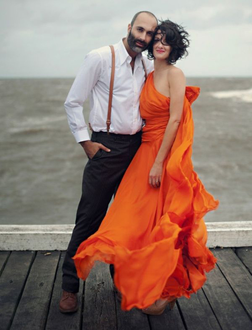 orange-wedding-dresses-couple