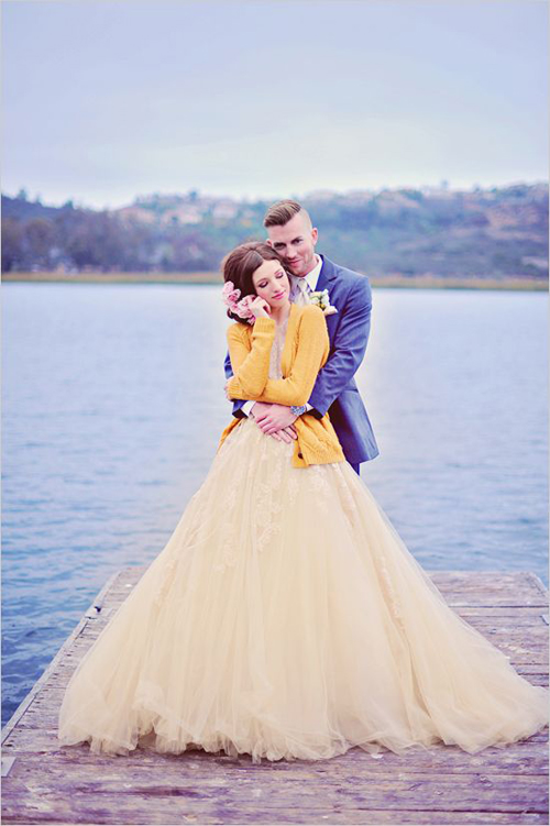 yellow-wedding-dresses-couple